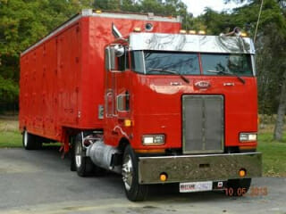 1990 Peterbilt 362 Cabover Red with Matching Trailer