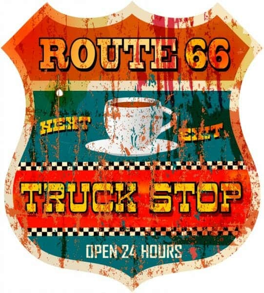 Old Route 66 Truck Stop Sign