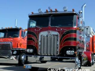 Black Red Kenworth Cabover Big Truck