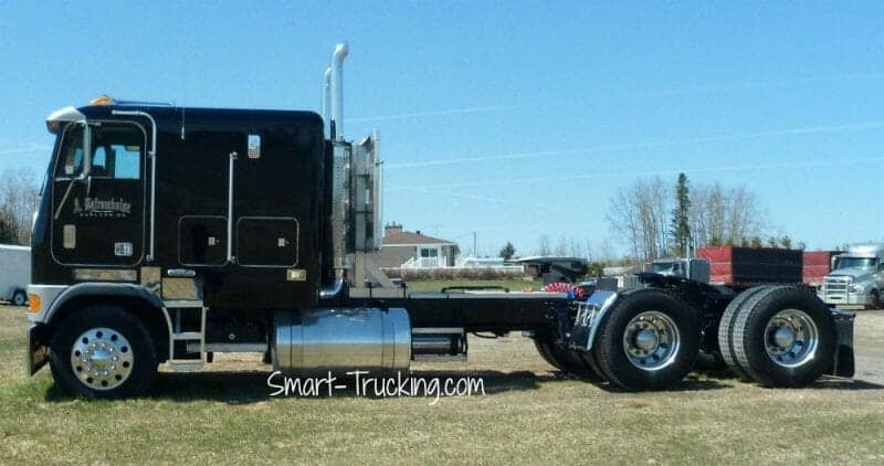 Black Long Wheelbase Cabover Truck Old School Style