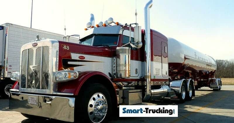 Red White Peterbilt 389 Truck With Stainless Tanker Trailer