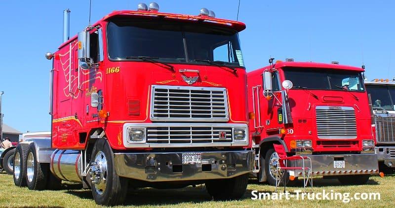 Red International Cabover Truck Freightliner Cabover