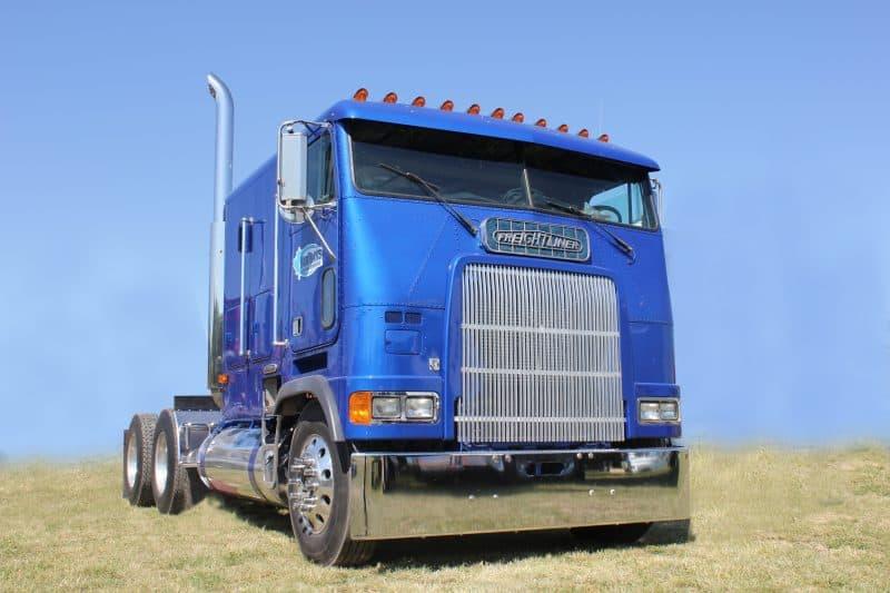 Blue Freightliner Cabover