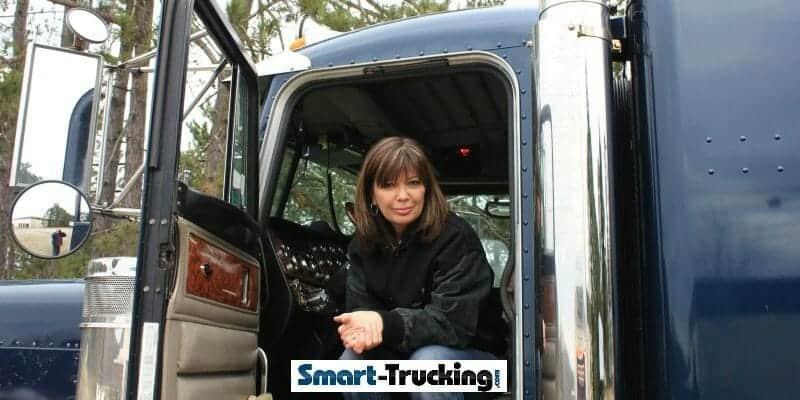 Lady trucker in truck