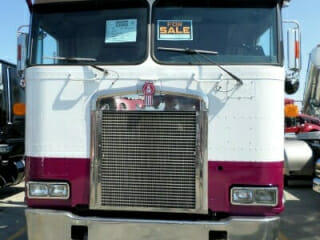 Maroon White Kenworth Cabover Truck