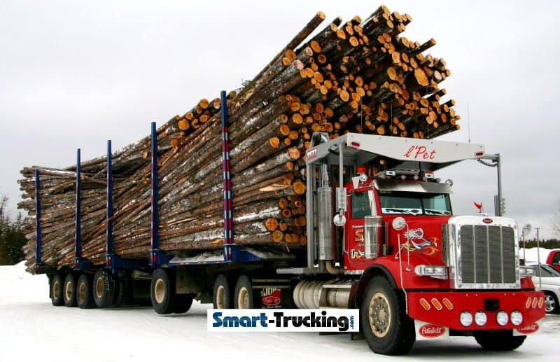 Peterbilt 357 Red Logging Truck Loaded