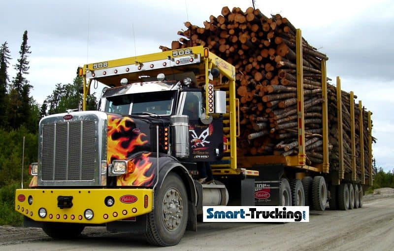 Peterbilt Logging Truck Loaded Black with Flames